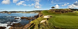 Scenic shot from Pebble Beach, ocean and green