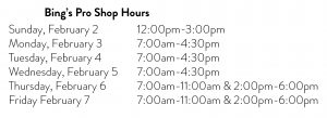 Bing's Pro Shop Hours